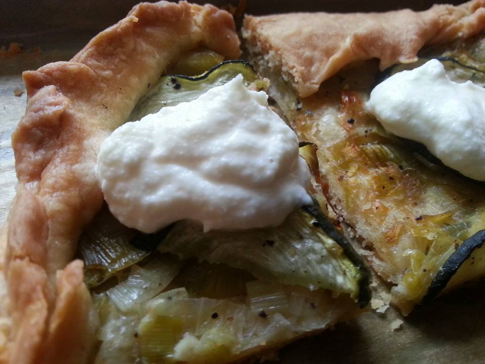 Zucchini, Carmelized Onion, and Lemon-Scented Ricotta Galette